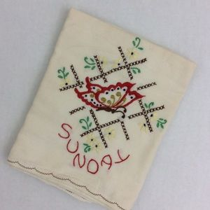 Other - Egyptian Cotton Sunday Embroidered Tea Towel